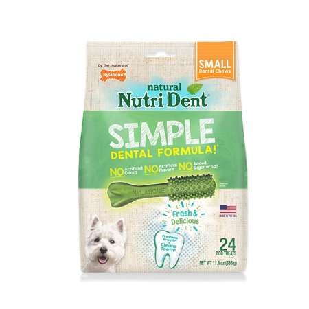 Nutri Dent Limited Ingredient Dental Dog Chews, Small (up to 15 lbs), Natural dental chews freshen breath and clean teeth By