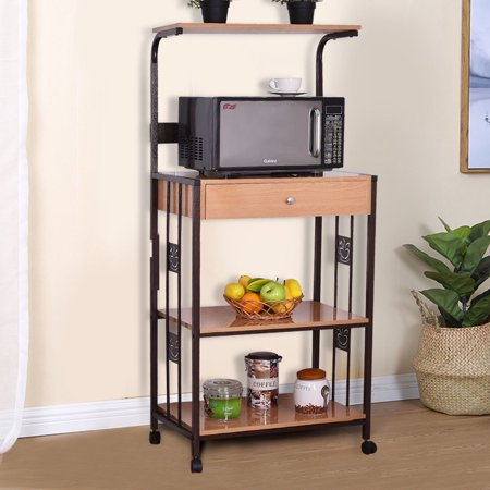 Costway 59'' Bakers Rack Microwave Stand Rolling Kitchen Storage Cart w/Electric Outlet