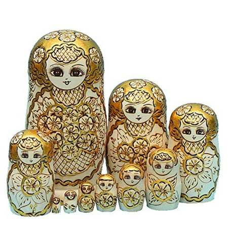 LK King&Light - 10pcs Golden of Plum Pattern Russian Nesting Dolls Matryoshka Wooden