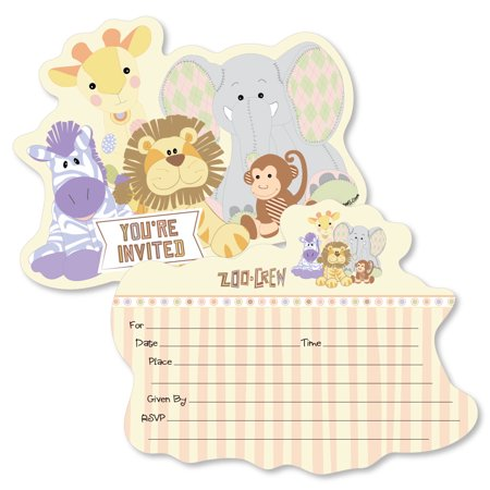 Zoo Crew - Shaped Fill-In Invitations - Baby Shower or Birthday Party Invitation Cards with Envelopes - Set of 12