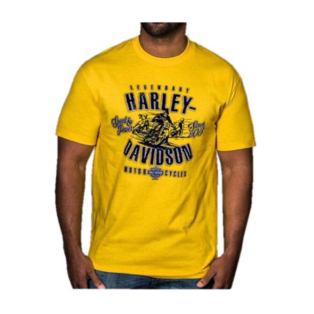 Harley-Davidson Men's Retro Racer Short Sleeve Crew Neck T-Shirt, Yellow, Harley Davidson
