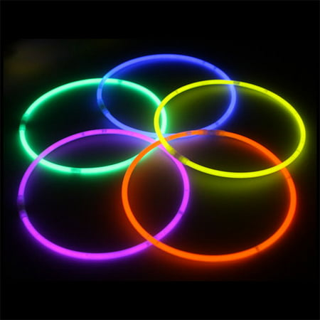 "Exquisite 100 Pack of 22"" Glow Sticks Bulk Wholesale Necklaces Party Pack - 100 pcs Glow Sticks Neon Light Sticks Assorted Colors - 22 Inch Glow in the Dark Necklaces](Neon Themed Party)"