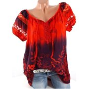 Fashion Women Short Sleeve Gradient Color Shirt Summer Print Lace Hollow Bandage Blouse Casual Loose Tops