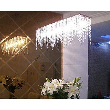 7PM Modern Linear Rectangular Island Dining Room Crystal Chandelier Lighting Fixture (Medium L32) ()