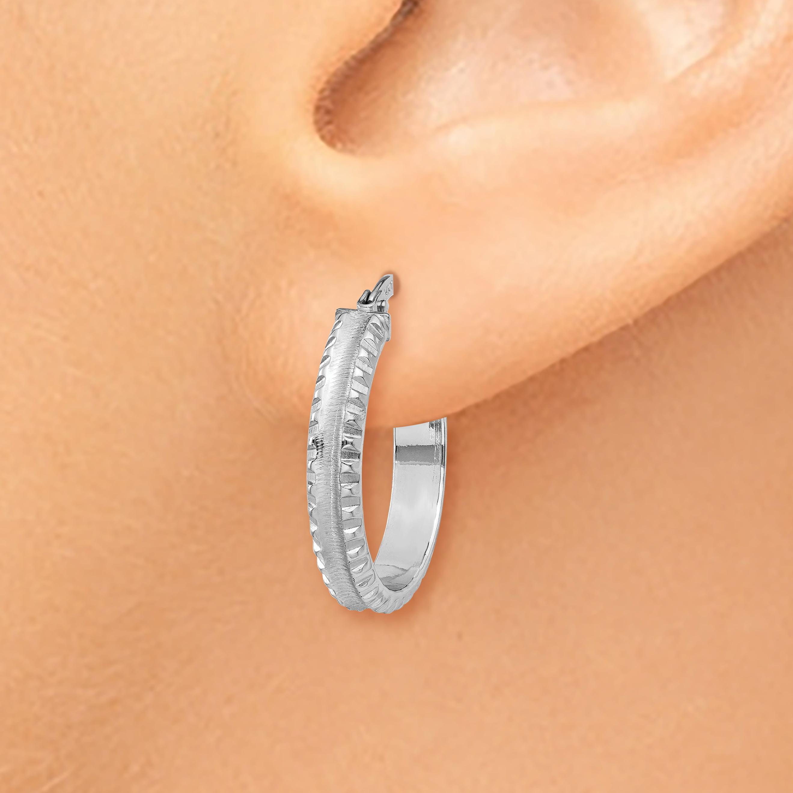 14K White Gold Polished/Satin Ridged Edge Concave Hoop Earrings - image 3 de 4