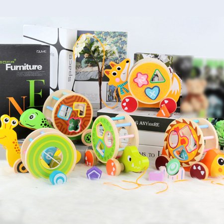 fashionhome Children Wooden Pull Toy Cartoon Animal Building Blocks Matching Early Educational Toys Kids Birthday Gifts - image 7 de 8