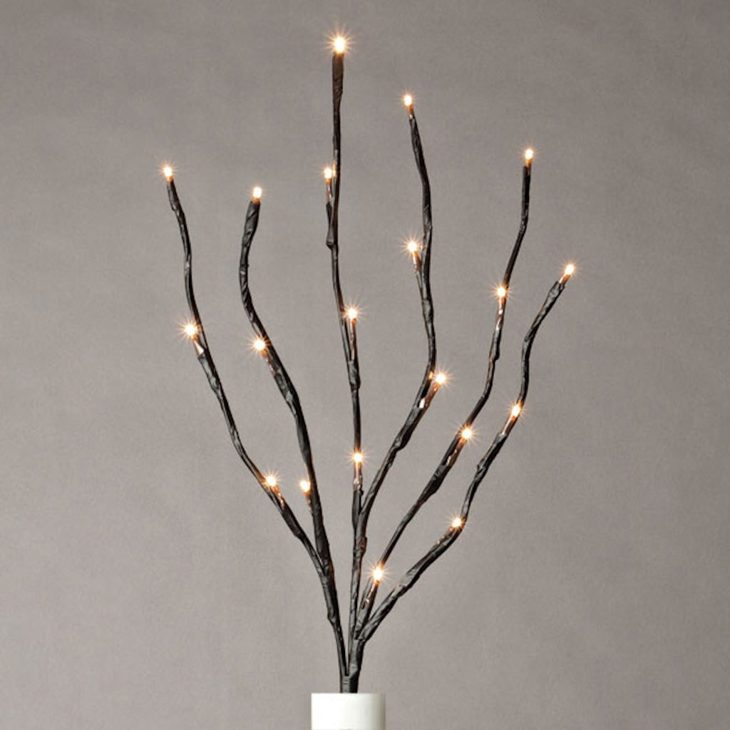 "Gerson 36865 - 20"" B/O BROWN WRAPPED LIGHTED BRANCH, 20LT LED WW Battery Operated Willow Lighted Branches"