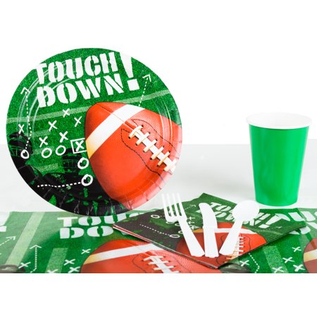 Football Frenzy Playoffs Superbowl Tableware 57Pc Party Pack  Green