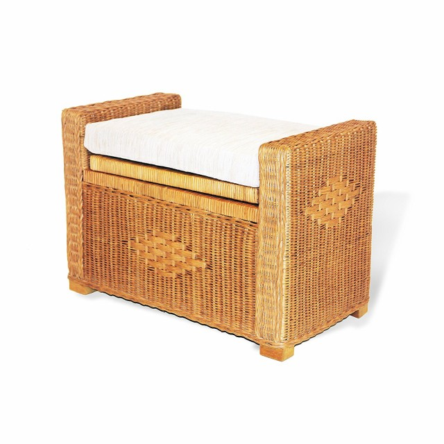 "SK New Interiors Bruno Rectangular Chest Ottoman 26"" ECO Natural Rattan Wicker Handmade w/ Cushion, Colonial"