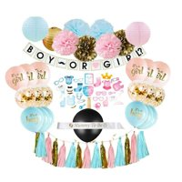 Gender Reveal Party Supplies (75 Pieces) with Photo Props, 36 Inch Reveal Balloon and Sash - Premium Baby Shower Decorations Set - Confetti Balloons, Boy or Girl Banner, Paper Lanterns and