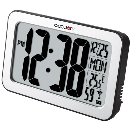 Accuon Jumbo Digital Self-adjusting Atomic Wall Clock with Indoor Temperature.
