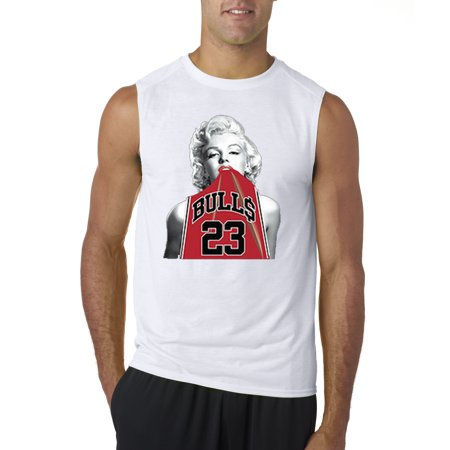Trendy USA 419 - Men's Sleeveless Marilyn Monroe Bulls 23 Michael Jordan Jersey 2XL - Blue And Grey Jordans