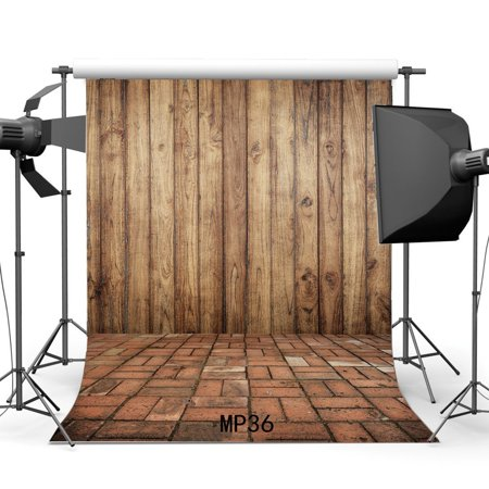 MOHome Polyster 5x7ft Wood Backdrop Vintage Stripes Wooden Plank Shabby Chic Texture Distressed Brick Floor Photography Background Kids Adults Wedding Party Decoration Wallpaper Photo Studio Props