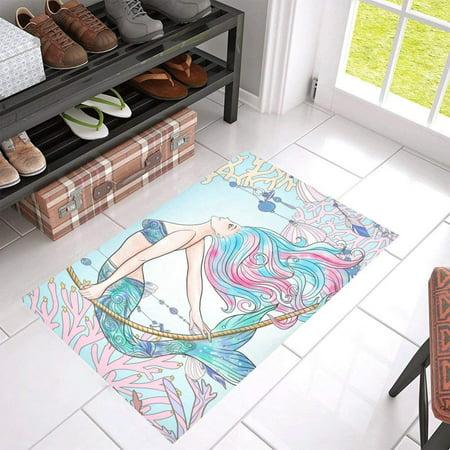 CADecor Mermaid In Underwater World Non-Slip Bath Mat Rug Bath Doormat Floor Rug 30x18 (Mermaid Bath)