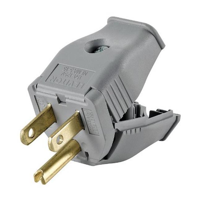 Leviton 3W101-0GY 2 Pole 3 Wire Grounding Plug  Gray - image 1 of 1