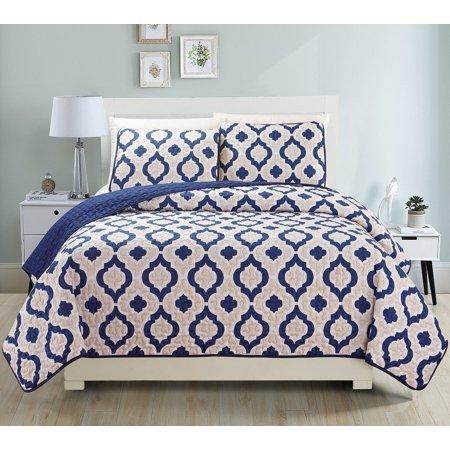 - Fancy Linen 3pc King Reversible Bedspread Navy Blue Beige White New