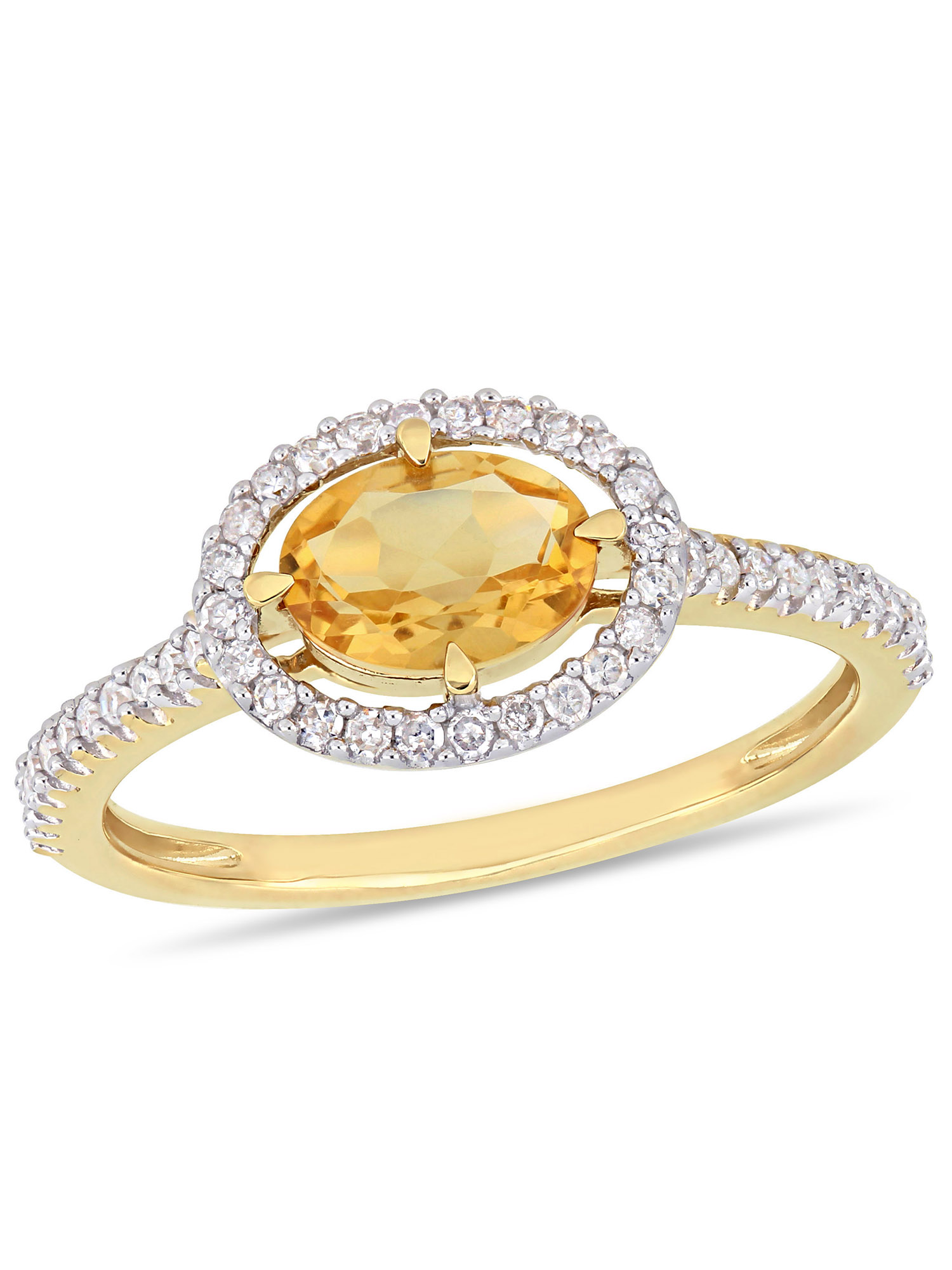 Tangelo 3/4 Carat T.G.W. Citrine and 1/4 Carat T.W. Diamond 10kt Yellow Gold Halo Engagement Ring