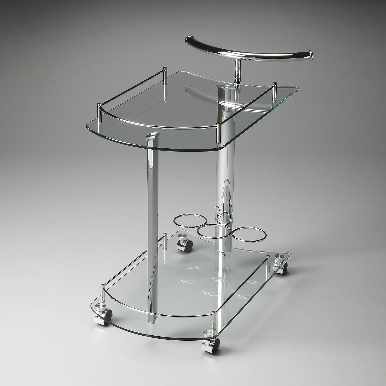 Butler Penelope Black Glass Serving Cart by Butler