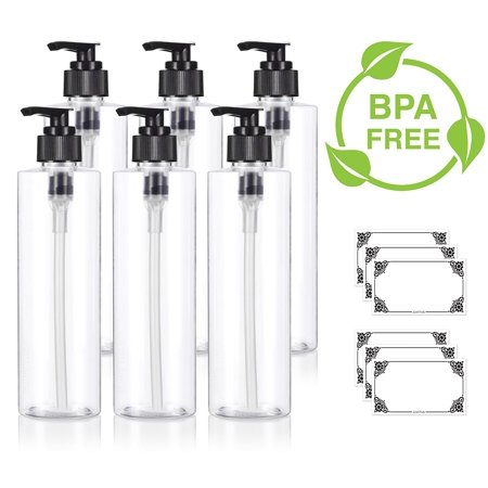 Clear 8 oz / 250 ml Professional Cylinder PET Bottles (BPA Free) with Black Lotion Pump (6 pack) + Labels for Shampoo, Conditioner, Body Wash, Lotion, and more