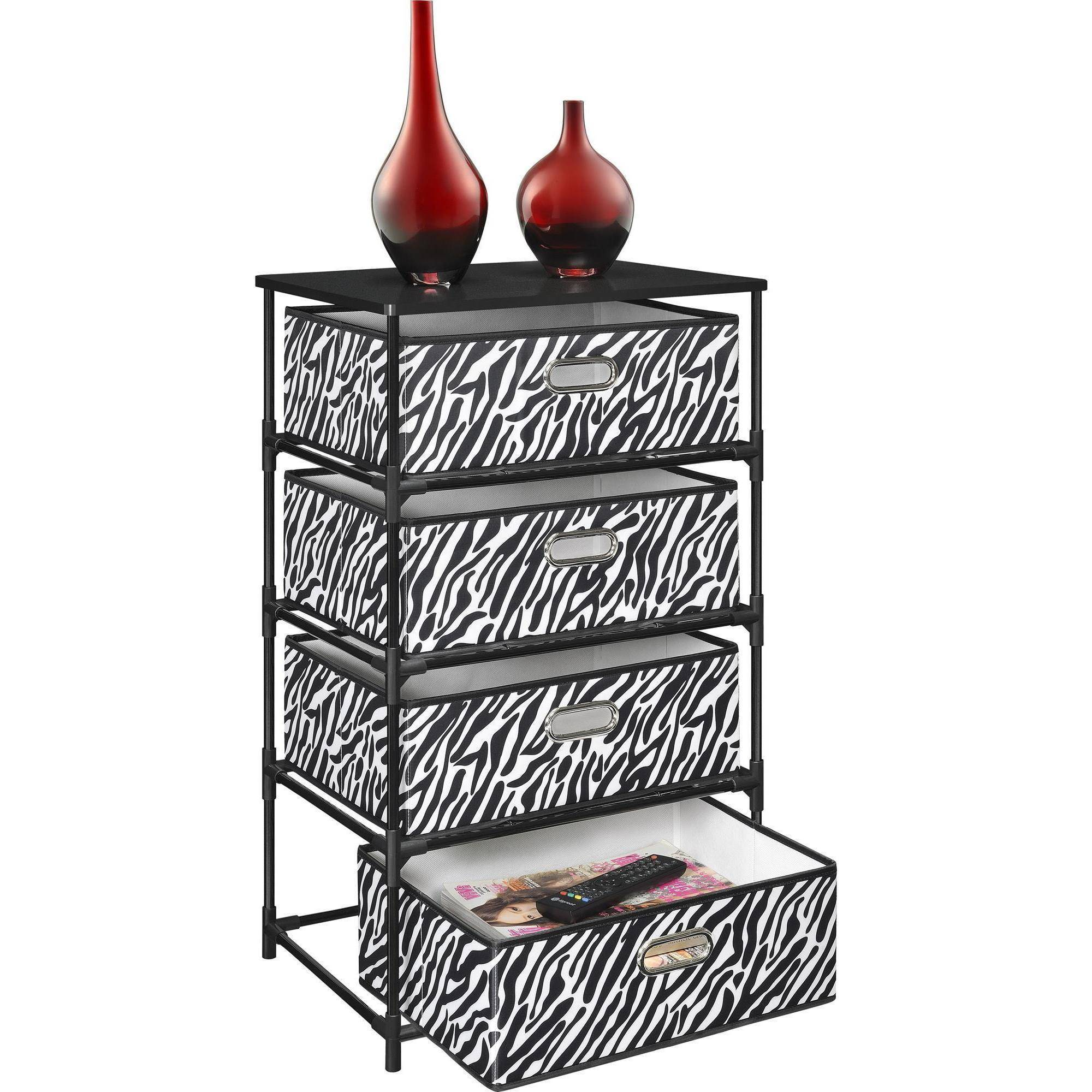 Nice Ameriwood Home Sidney 4 Bin Storage End Table, Zebra/Black   Walmart.com