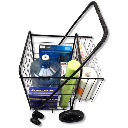Premium Swivel Jumbo Wheeled Folding Shopping  Grocery And Laundry Cart With Extra Basket  Bonus Free Cargo Net