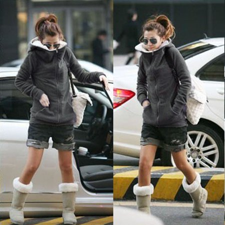 - S-XXXXXL Plus Size Women Winter Warm Zipper Fleece Hoodie Coat Jacket Sweatshirt Outwear,Grey color