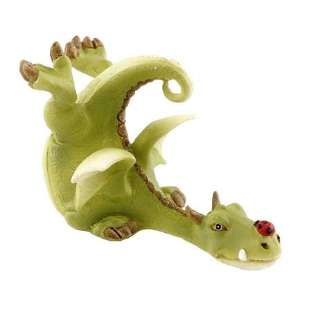 Ladybug Miniature (Top Collection Miniature Dragon Garden Statue (Green Dragon Playing with Ladybug) )