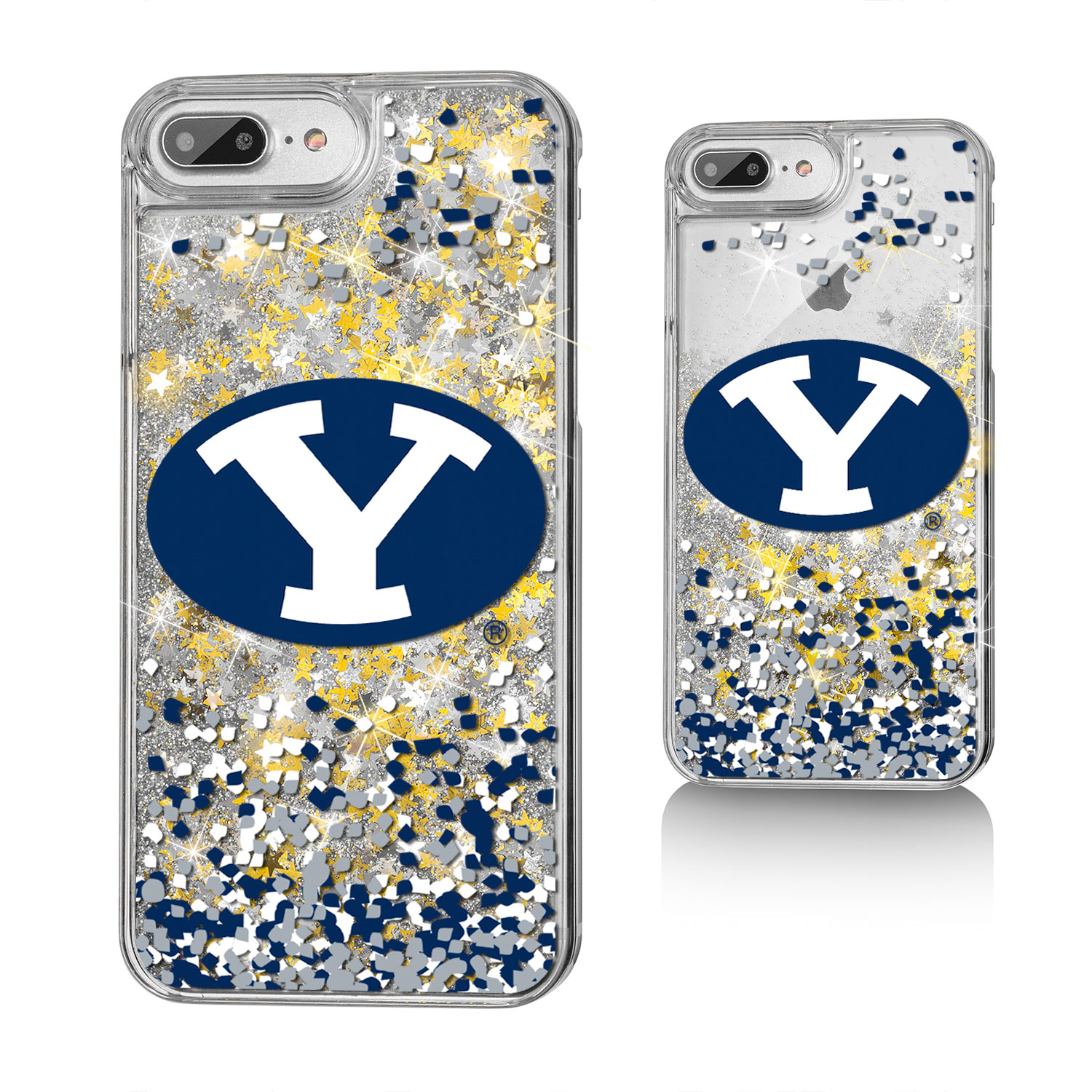BYU Brigham Young Cougars Confetti Glitter Case for iPhone 8 Plus / 7 Plus / 6 Plus