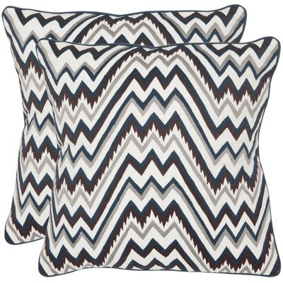 Safavieh Pillows Collection Highland Decorative Pillow, 18-Inch, Blue and Brown, Set of 2 by