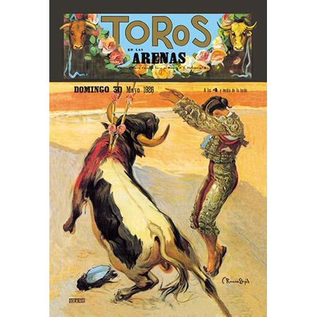 Bulls in the Arena- Bullfighting poster showing a toreordor dancing around the bull  From Madrid Spain and created by Carlos Ruano Llopis Poster Print by Carlos Ruano Llopis - Madrid Arena Halloween