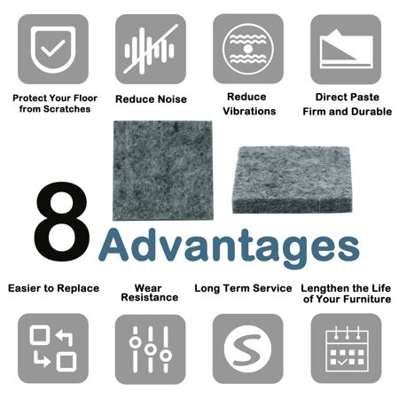 "Felt Furniture Pad Square 7/8"" Self Adhesive Anti-scratch Floor Protector 30pcs - image 5 of 7"