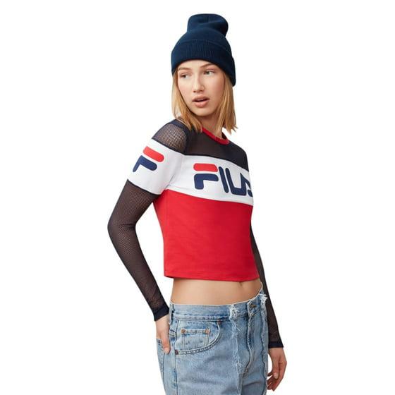 Fila - Fila Women s Tara Mesh-Sleeve Cropped Top - Walmart.com 434696f85