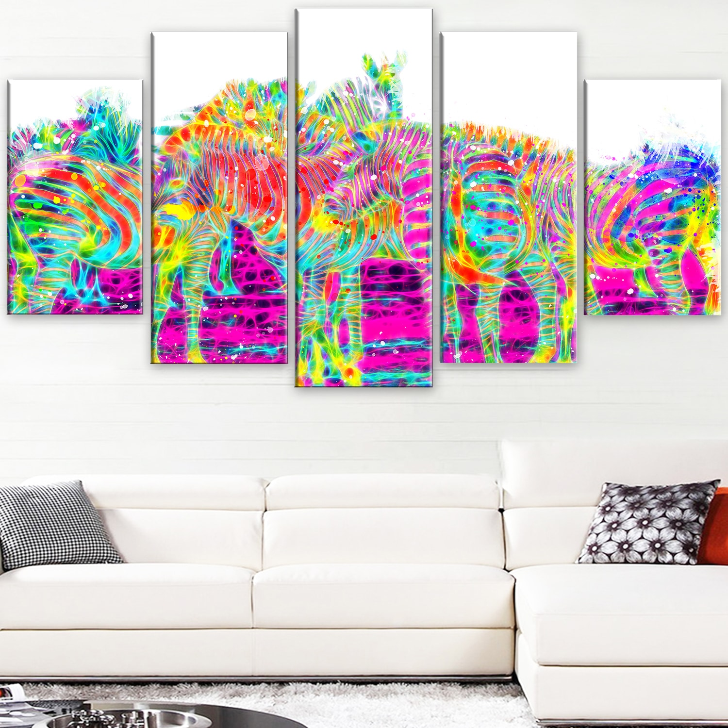 DESIGN ART  'Rainbow Zebras' Large Animal Canvas Artwork