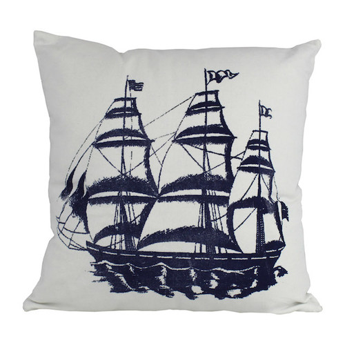 Handcrafted Nautical Decor Tall Ship Decorative Throw Pillow