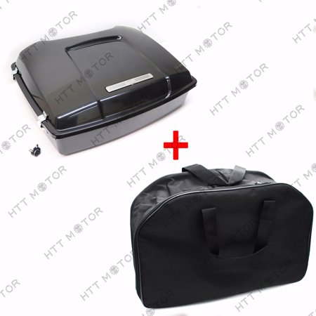 HTTMT- Unpainted Black Tour Pak Pack Trunk w/ Lock & Liner Bag For Harley Touring (Tour Trunk Liner)