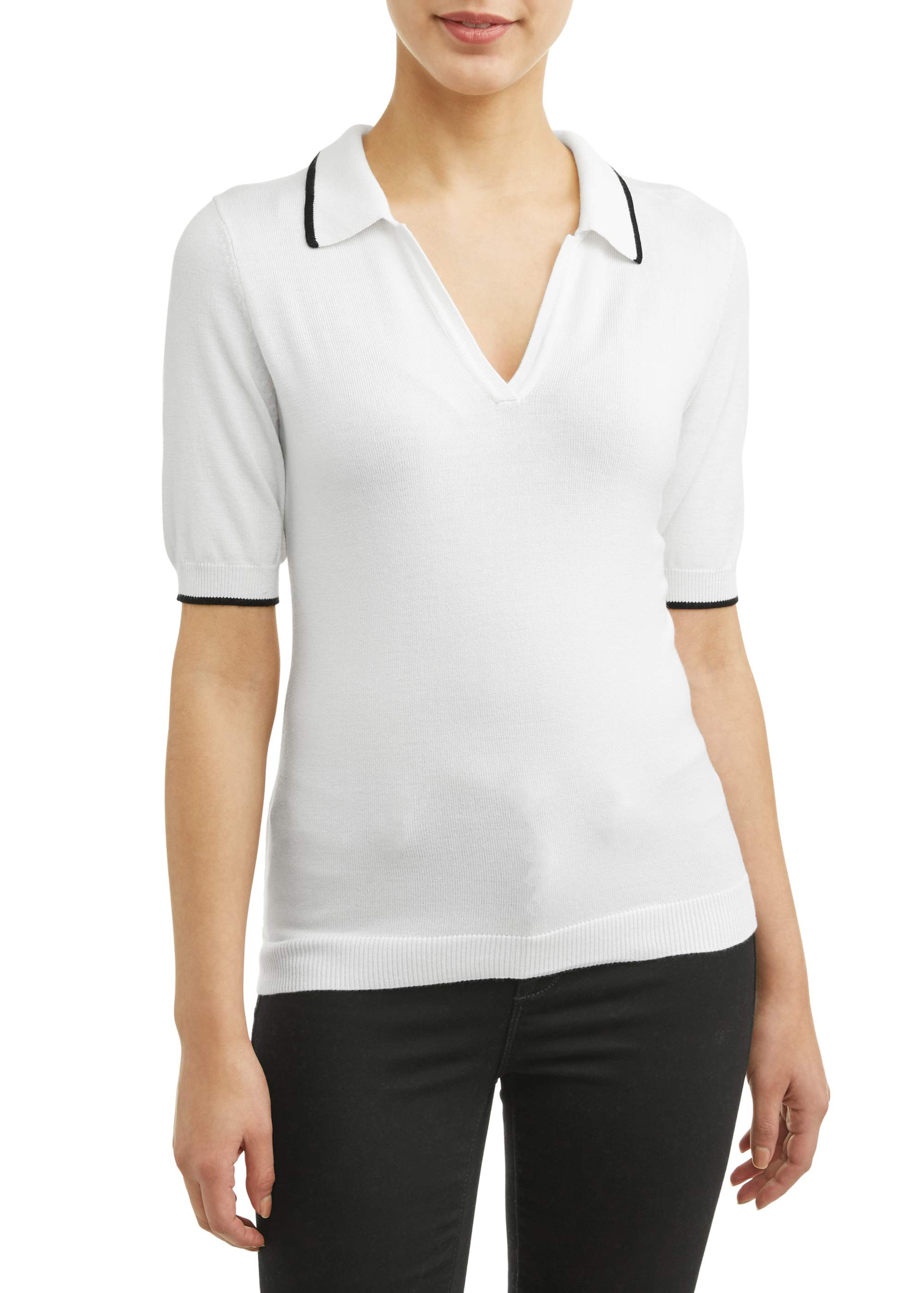 Women's Short Sleeve Polo Sweater