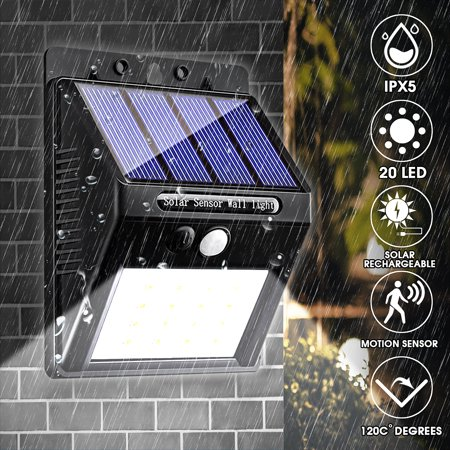 ARILUX AL-SL11 Outdoor Solar Powered Wall Lights, Motion night Sensor, 44 LED Super Bright PIR Motion Sensor Landscape Lighting Lamp Garden Security