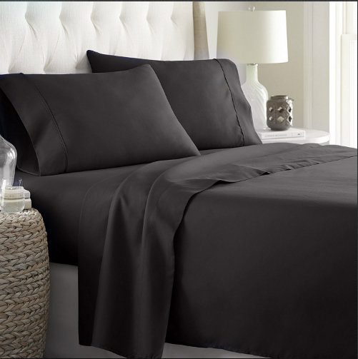"""Hotel Quality Sheet-Set King Size – Solid Black Luxury Double Brushed 100% Microfiber , Easy Fit Wrinkle and Fade Resistant, 9"""" inch deep pocket by Splendid"""