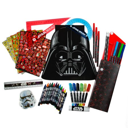 200pc Star Wars Ultimate Art Set Kids Creative Kit Markers Pens Pencils Notepad