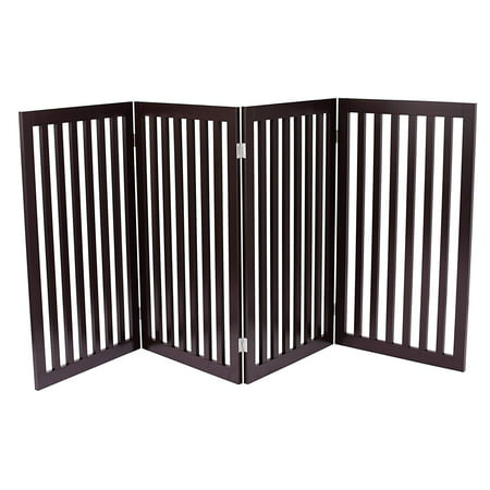 Internet's Best Traditional Pet Gate | 4 Panel | 36 Inch Tall Fence | Free Standing Folding Z Shape Indoor Doorway Hall Stairs Dog Puppy Gate | Fully Assembled | Espresso | MDF