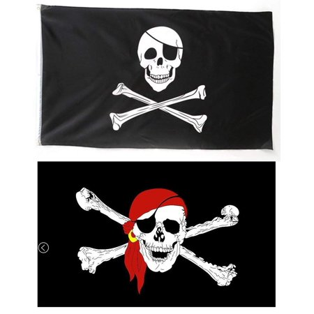 Pirate Skull Flag, 3 x 5 Ft 100% Polyester Jolly Roger Flag with One Eye + Red Bandana Pirate Flags with Metal Rings for Boating, Garden, Bar, Ghost House, KTV,