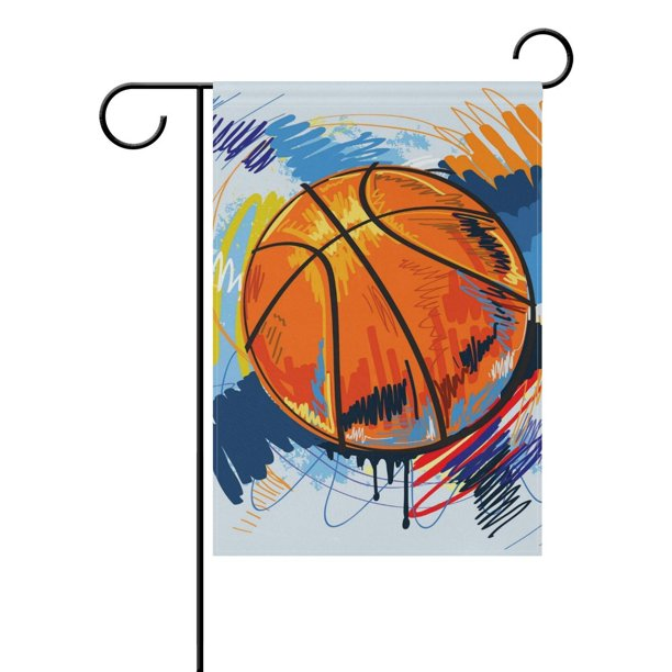 Popcreation Basketball Painting Polyester Garden Flag Outdoor Flag Home Party Garden Decor 12x18 Inches Walmart Com Walmart Com