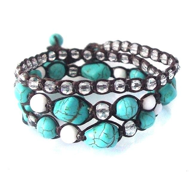 Turquoise and Milky-Quartz Triple-Wrap Cotton Rope Tribal Bracelet (Thailand)