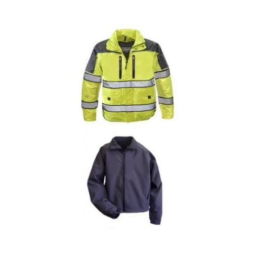 Gerber Outerwear Eclipse SX - Ansi 107 with Soft Shell Liner Jacket, Navy - Lime
