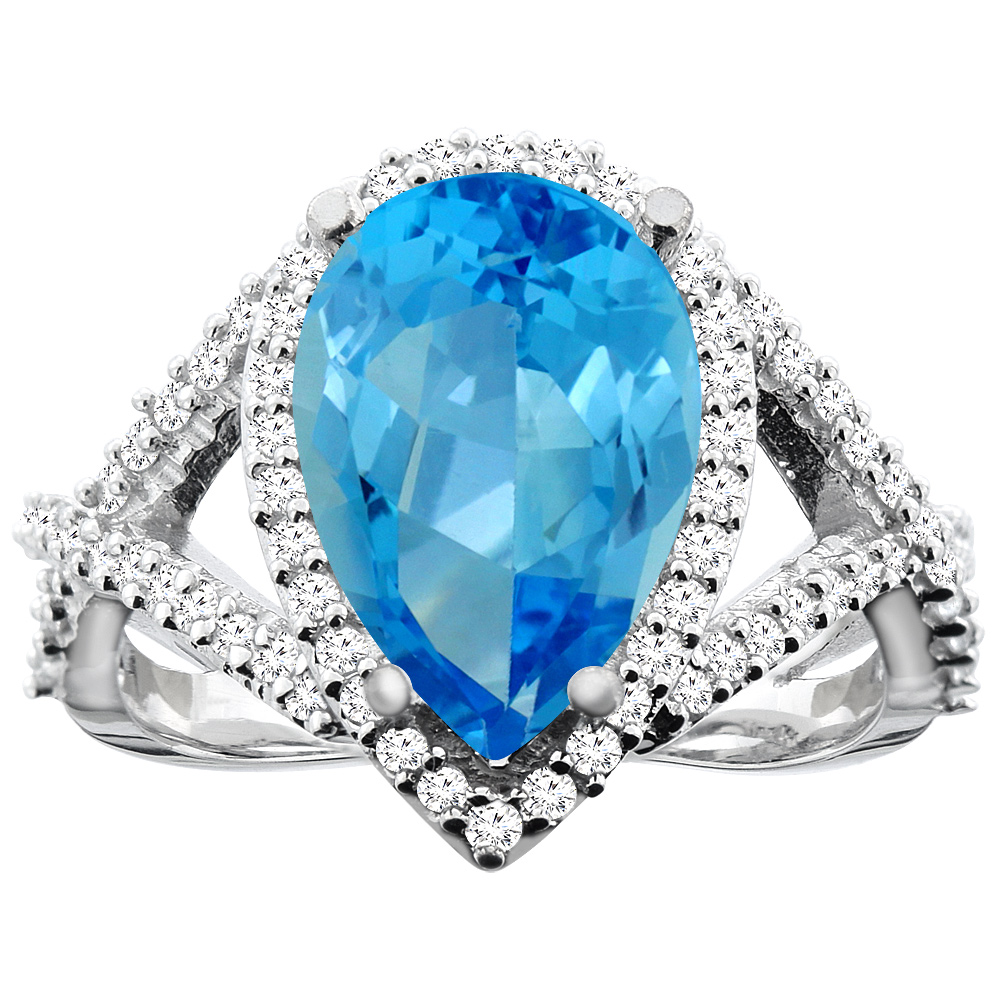 14K White Gold Natural Swiss Blue Topaz Ring Pear 12X8mm Diamond Accent, size 5.5 by Gabriella Gold