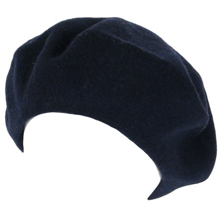 Tam Hat (Wool French Beret TAM Beanie Slouch HAT Cap, Navy, 100% Wool By TOP)