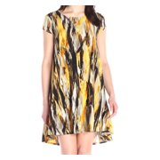 Karen Kane NEW Yellow Brushed Print Womens Small S Shift Trapeze Dress