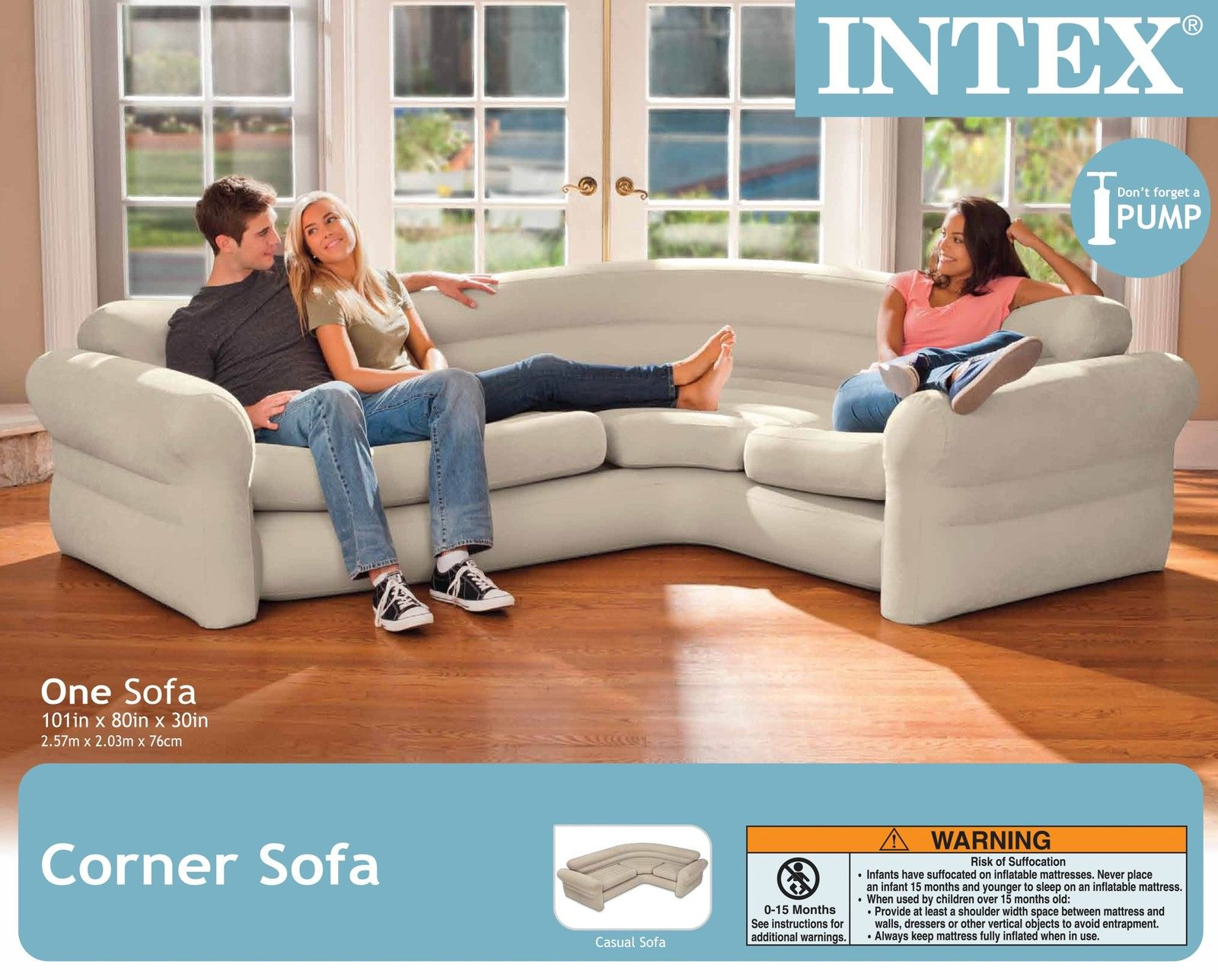 Blow Up Sectional Couch Ultra Comfort Sleeper Futon Corner