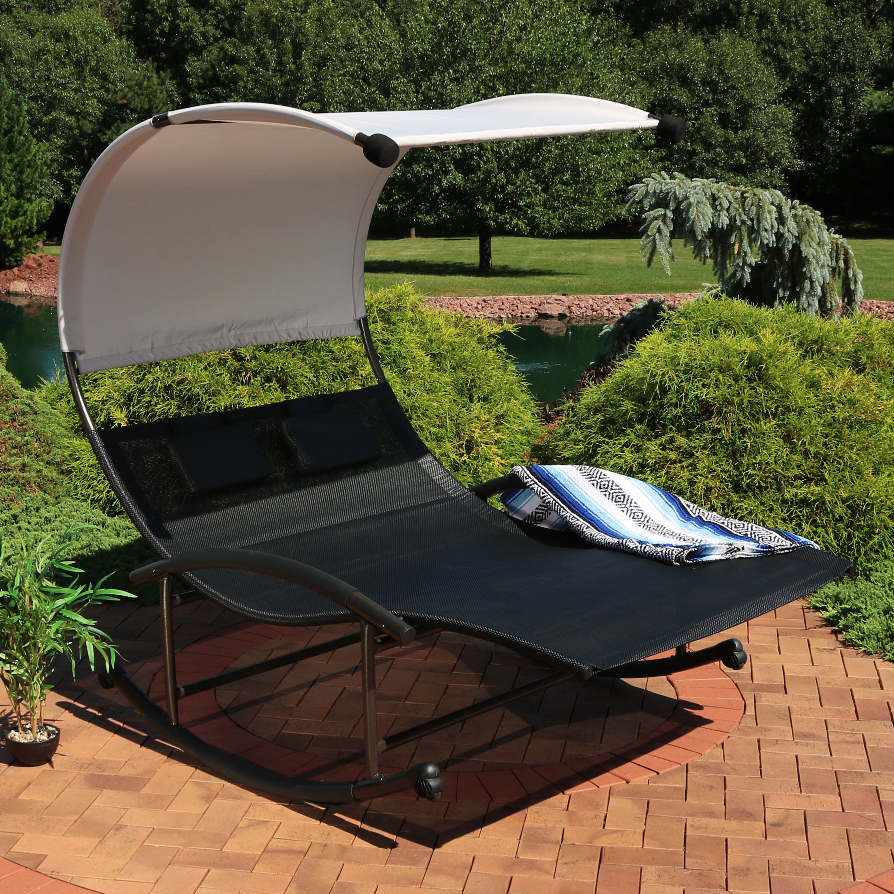 Sunnydaze Outdoor Double Chaise Rocking Lounge Chair With Canopy Shade And  Headrest Pillows, Portable Patio