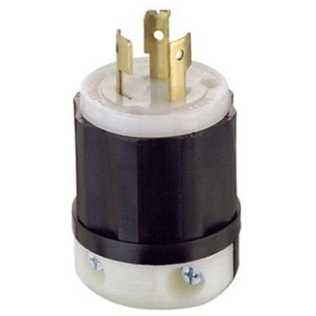 Leviton 9965-C 20 Amp, 125/250 Volt, Locking Plug, Industrial Grade, Non-Grounding, Black-White Locking Plug 20 Amp